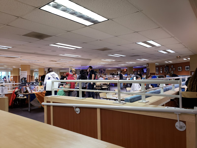 Wide view of 2018 GeekU.P. in the MUB Commons at Michigan Tech