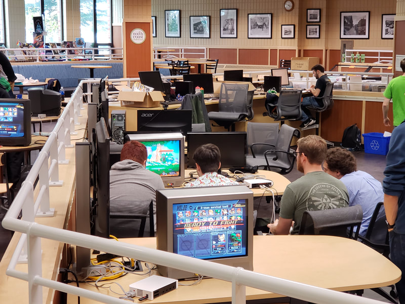 Participants gaming during a vintage gaming tournament during 2018 GeekU.P.